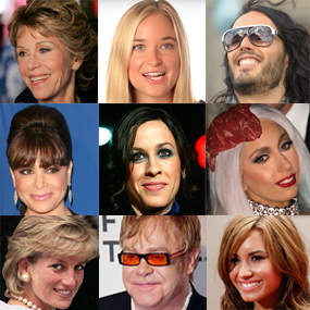 Famous peopel -- celebrities or celebs with eating disorders